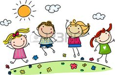 Illustration of jumping happy kids vector art, clipart and stock vectors. Art Drawings For Kids, Drawing For Kids, Easy Drawings, Art For Kids, Cartoon Faces, Cartoon Drawings, Cute Cartoon, Clipart, Stick Figure Drawing