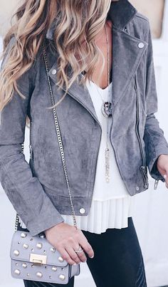 #fall #outfits women's gray suede jacket