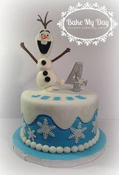 Olaf cake www.facebook.com/CustomByJanet Olaf Cake, Disney Frozen Cake, Custom Cakes, Cake Decorating, Birthday Cake, Parties, Facebook, Baking, Desserts