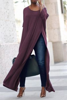 If you love the look of a long maxi dress over pants or jeans, you'll love our new crew neck jersey version that has sexy slits up the front and back. Trend Fashion, Look Fashion, Womens Fashion, Ladies Fashion, Purple Fashion, Fall Fashion, Fashion Ideas, Fashion Inspiration, Mode Outfits