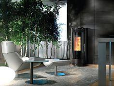 A nice modern Nordic Fire Aura pellet fireplace. Pellet Fireplace, Outdoor Furniture, Outdoor Decor, Simple Designs, Nice, Glass, Modern, Helsinki, Aurora