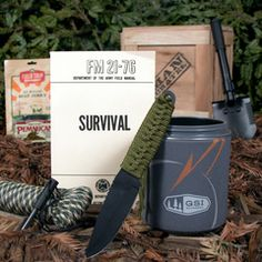 Outdoor Survival Crate - great guy gift ideas.  You could make your own to suit anybody really.  (And even though I don't believe in zombies, I think my favorite was the zombie annihilation crate).