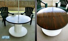 Patio table from upcycled electrical cable spool reel.