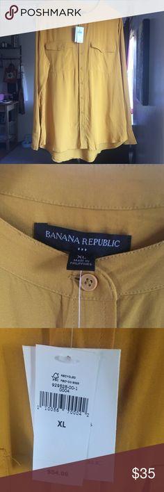 Banana Republic Mustard Oversized blouse (New) Never worn, XL, Banana Republic, Mustard Yellow long sleeve oversized blouse. Still has tags! Banana Republic Tops Blouses