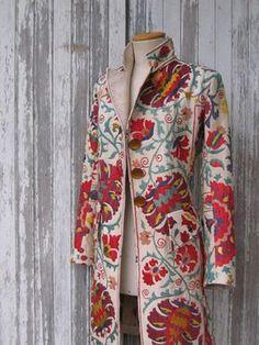 Spectacular Suzanni Coat From Indalia Fashion, Asian and Italian Fabrics Combined with Italian Tailoring to Produce Dynamic Clothing. Boho Fashion, Womens Fashion, Fashion Design, Cool Jackets, Couture, Wearable Art, Kimono, Asian, Style Inspiration