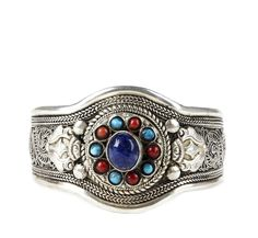 Silver plated cuff with semi-precious stones and etched detail - solesociety.com