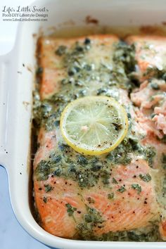 This Dijon Lemon Caper Salmon will have Salmon lovers rejoicing with Dijon, lemon and caper flavor infused into melt-in-your-mouth fillets of salmon. Honey Glazed Salmon Recipe, Baked Salmon Lemon, Oven Roasted Salmon, Healthy Salmon Recipes, Fish Recipes, Seafood Recipes, Greek Recipes, Salmon Capers, Healthy Recipes