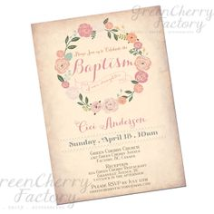Printable Baby Girl Baptism Invitation - Shabby Chic Vintage Peach Background - Girl Baptism Invite - Christening - No.101. $18.00, via Etsy.