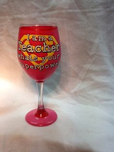Teacher's Superpower Wineglass by TheUniqueMiniBoutiqu on Etsy