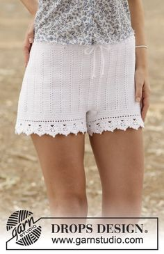 "Crochet DROPS shorts with double crochet and lace pattern in ""Safran"". Size: S - XXL. ~ DROPS Design"