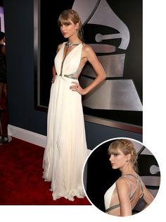 LOVED her dress!!!!! Grammys 2013: Taylor Swift Wears J. Mendel Gown, Heidi Hair (Poll) - Hollywood Reporter