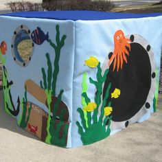 Ocean theme playhouse made from felt cover + card table