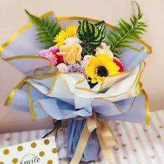 #giftidea #birthdaygift #flowerarrangement #flower #flowers #koreaflower #soapflowerbouquet #gift #sanfrancisco #floral #sunflower #bloomingmomentflorist #soapflower San Francisco, Flower Arrangements, Floral, Birthday Gifts, Soap, Table Decorations, Flowers, Instagram, Home Decor