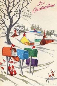 Luv! Vintage Snowscape Christmas Card ~ Rural Mailboxes with a Bit of Orange