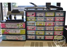 Erica's Ed-Ventures: Black & White Polka Dot Plus Brights Classroom Reveal - Teacher Toolbox and Teacher drawers