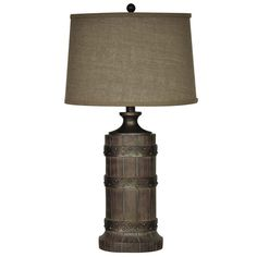 Plankroad Table Lamp Set of 2 Western Lamps - Resin with rustic wood finish.