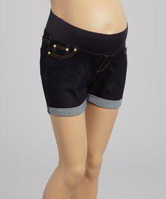 Loving this Dark Wash Supersoft Under-Belly Maternity Shorts - Women on #zulily! #zulilyfinds