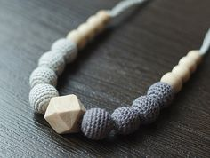 READ ON SHIP Neutral Teething / Nursing necklace for breastfeeding Mommy Sling accessories - gray colors - cotton yarn wood bead Nursing Necklace, Teething Necklace, Wooden Teething Ring, Neutral, Flower Pendant, Baby Wearing, Crochet Flowers, Breastfeeding, Gifts For Mom