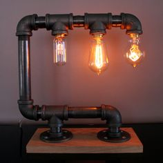 3-Light Industrial Pipe Touch Lamp with Dimmer por FelixLamps