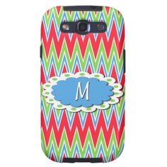 Summer Zigzag. Trendy and pretty Samsung Galaxy S3 phone case. Beautiful colorful abstract sky blue, lime green, neon red and white chevron striped pattern and flower button for monogram or initials. For the hip fashionista and fashion trend setter, vintage retro nouveau deco, graphic motif or bright colors lover. Cute, cool, chic and classy birthday gift for the girly girl or a great and fun Christmas present. Also for Galaxy S2 S3, iPhone 3 4 5, Droid Razr, iPad 2/3/4, iPod 4G 5G, and…