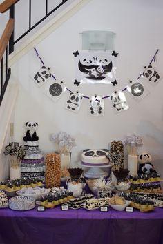 Panda themed baby shower dessert table