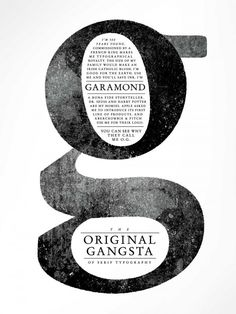 Garamond Type Poster. The message made me laugh. I like how the information is inside the counter and loop.