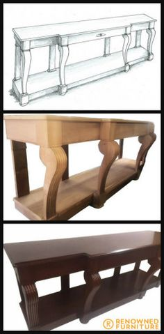 This console table was custom made using very rare Queensland rainforest red cedar that we had been keeping for over 40 years. See this beautiful piece transform from sketch to reality.   #throwbackthursday #tbt #furniture #renownedfurniture #consoletable #customfurniture S Console, Custom Made Furniture, Red Cedar, 40 Years, Dining Bench, Sketch, Beautiful, Home Decor, Sketch Drawing