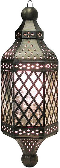 This artistic tin chandelier design was influenced by Moroccan style. The lamp fixture is decorated with tin ornaments and artistic glass. Hanging Lanterns, Candle Lanterns, Mexican Style Decor, Translucent Glass, Moroccan Lanterns, Antique Glass, Ceiling Lamp, Light Decorations, Chandelier Lighting
