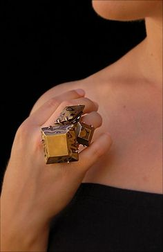 Ring | Katie L Poterala.  Copper, Brass, and Nickel Mokume Gane, Sterling Silver