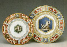 The State Hermitage Museum: Collection HighlightsPlates from the Raphael Ceremonial Dinner and Dessert Services from Tsarskoye Selo Palace   Imperial Porcelain Manufactory, St. Petersburg     Designed by S. P. Romanov (?)     1883-1903     Porcelain, overglaze polychrome painting, gilding on biscuit ware