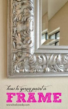 Tip: Use a small brush to paint black paint in the grooves of any ornate mirror and let dry. Then spray with the silver spray paint. After the spray paint is dry, go back in and add a little more black paint in a few areas. You'll be left with a really great dimensional finish.
