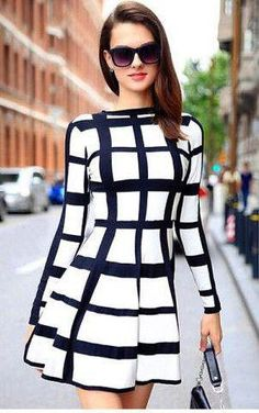 Trendy Round Neck Long Sleeve Plaid Dress For Women - Style: Cute - Material: Polyester - Silhouette: A-Line - Dresses Length: Mini - Neckline: Round Collar - Sleeve Length: Long Sleeves - Pattern Typ