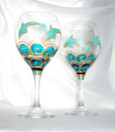 Blue Dolphin Flute Glasses Hand Painted by SkySpiritStudios