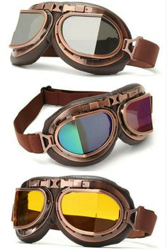 8ad1e2e679 Old School Leather Vintage Retro Aviator Motorcycle   Biker Goggles For  Your Helmet That Fit Over