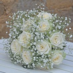 White roses gypsophila bridal bouquet beautiful wedding flowers