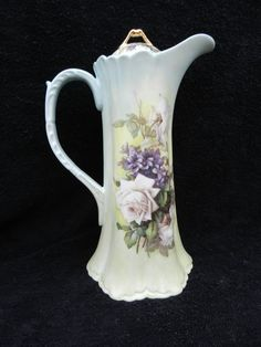 Chocolate Pot: Porcelain Hand Decorated.