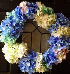 Beautiful Hydrangea Wreath Home Decor by BlessMyNestShop on Etsy, $50.00