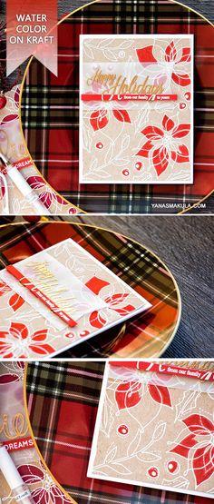 Winter Flowers on kraft. Beautiful Christmas Cards, Christmas Cards To Make, Handmade Christmas, Holiday Cards, Christmas Ideas, Christmas Crafts, White Christmas, Winter Flowers, Spring Flowers