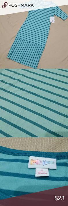 Lularoe Julia Dress Aqua with teal stripes and neck detail LuLaRoe Dresses Midi