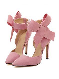 Pink Detachable Bow Embellishment High Heeled Pumps | Choies