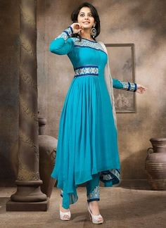 Pure Georgette Border and Embroidered Blue Party Wear Suit