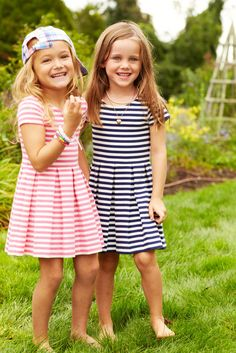 Aww Alaina and Alivia This adorable striped cotton-blend dress from Ralph Lauren features a pleated fit-and-flare silhouette. Little Girl Outfits, Little Girl Fashion, Kids Outfits, Kids Fashion, Cute Outfits, Beautiful Little Girls, Beautiful Children, Moda Kids, Ralph Lauren Kids