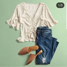 Love edgy sophisticated &  girly tops that are jeans-friendly. I love to dress up simply feminine in style. Love the details on the bodice and the flowy cut of the sleeves. Love the textile as well. Looks soft and lightweight.