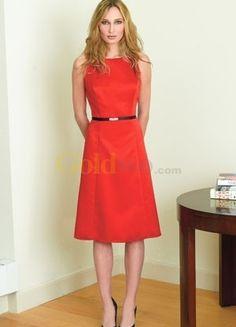 [US$130.99] Formal Sleeveless Sash Knee Length Satin Evening Dress