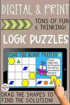 Engage your 2nd and 3rd graders in problem solving with these fun digital logic puzzles! They will never erase a hole in their paper with this remote learning activity. Just drag the shapes and try again to find the correct solution. Also in a no prep Just Print version for in-class learning or sending home. Fun Math Activities, Math Resources, 2nd Grade Teacher, Logic Puzzles, School Closures, Math Workshop, Elementary Math, Math Lessons, Math Centers
