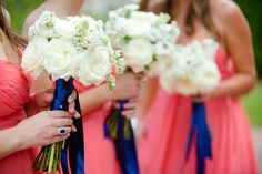 Bridesmaid bouquets for a coral and navy themed wedding | Set Free Photography