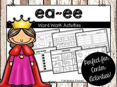 Long e vowel team word work activities (ea/ee). Sight Words List, First Grade Sight Words, Second Grade, Word Work Activities, Phonics Activities, Phonics Centers, Language Activities, Ee Words, Language Arts Worksheets