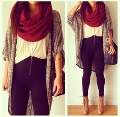 Casual hipster fall wear on the hunt Fall Winter Outfits, Autumn Winter Fashion, Summer Outfits, Winter Stil, Red Scarves, Chunky Scarves, Oversized Cardigan, Look Fashion, Fall Fashion