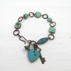 Love charm bracelet Vintaj jewelry turquoise bracelet by BeadyDaze, £16.00