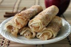 Buttery Fried Apple Stuffed Cinnamon Sugar Tortilla Rolls
